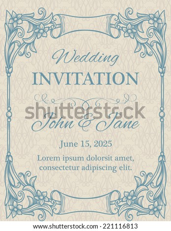 Invitation with calligraphy design elements in beige - stock vector