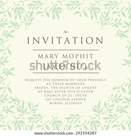 Invitation with pattern olive branch. Template wedding invitation or announcements - stock vector
