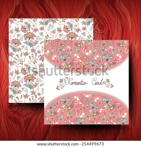 Invitations with floral background - stock vector
