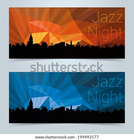 Invite or event banner design with New York skyline and colorful abstract sky - stock vector