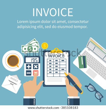 Invoice. Man at table, calculations on payment, bills, receipts, invoices. Flat design, abstract vector. Invoice bill concept. Accounting checking Invoice. Paperwork. Calculator, laptop, money. - stock vector