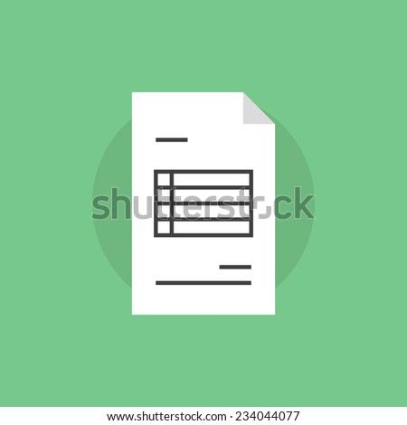Invoice paper with financial information. Flat icon modern design style vector illustration concept. - stock vector