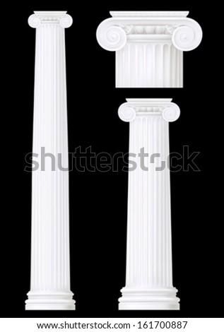 ionic column set ,vector drawing  - stock vector