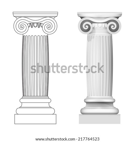 ionic column style side view isolated vector illustration - stock vector