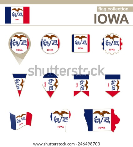 Iowa Flag Collection, USA State, 12 versions - stock vector