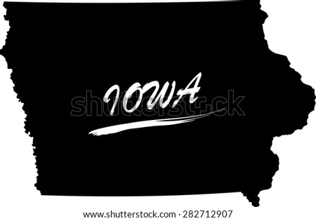 Iowa map vector in black and white background, Iowa map outlines in a new creative design - stock vector