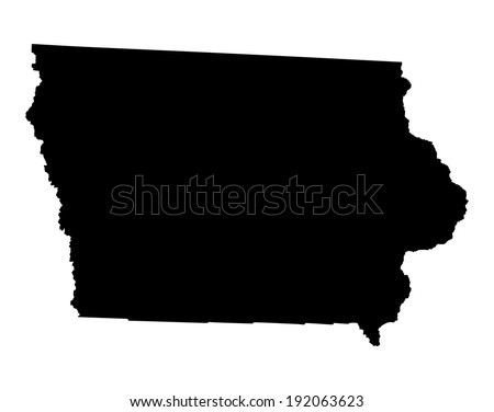 Iowa vector map isolated on white background. High detailed silhouette illustration. - stock vector