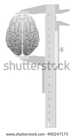 IQ Test. Caliper measures the Brain.  - stock vector