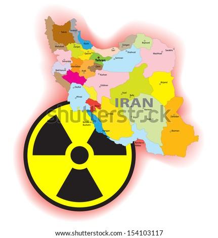 Iran radiation conflict illustration - stock vector