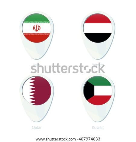 Iran, Yemen, Qatar, Kuwait flag location map pin icon. Vector Illustration. - stock vector