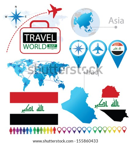 Iraq. flag. Asia. World Map. Travel vector Illustration. - stock vector