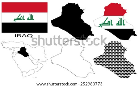 Iraq - Flag, four vector map contours and Middle East map - stock vector
