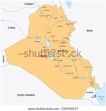 iraq map - stock vector