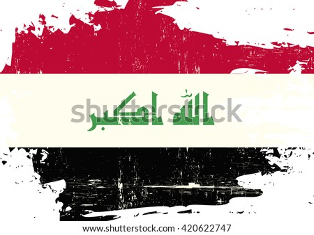 Iraq scratched Flag. An Iraqi flag with a grunge texture - stock vector