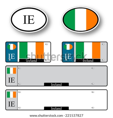 ireland auto set against white background, abstract vector art illustration, image contains transparency - stock vector