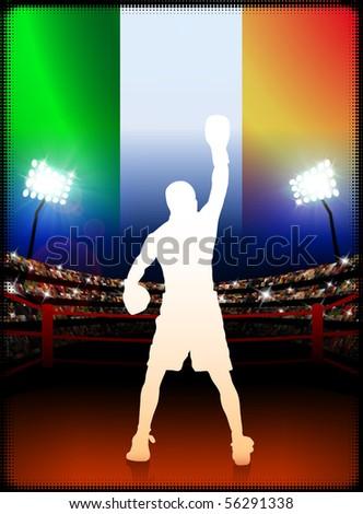 Ireland Boxing on Stadium Background Original Illustration - stock vector