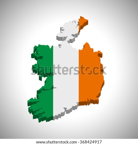 Ireland - 3D map and flag - stock vector