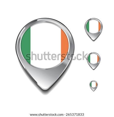Ireland flag map pointer. 3d Map Pointer with flag glossy button style on gray background - stock vector