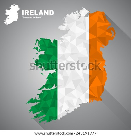 Ireland flag overlay on Ireland map with polygonal and long tail shadow style (EPS10 art vector) - stock vector