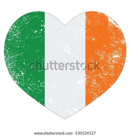 Ireland heart retro flag - St Patricks Day - stock vector