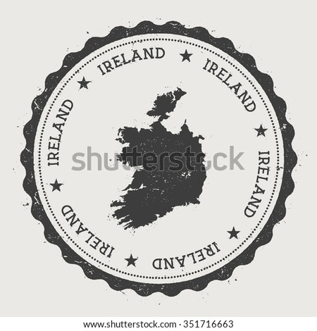Ireland. Hipster round rubber stamp with Ireland map. Vintage passport stamp with circular text and stars, vector illustration - stock vector