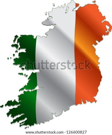 Ireland map with the national flag on it - stock vector