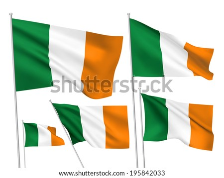Ireland vector flags. A set of 5 wavy 3D flags created using gradient meshes. - stock vector