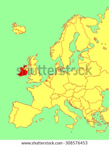 Ireland vector map, Europe, vector map silhouette illustration isolated on Europe map. Editable blank vector map of Europe.  - stock vector