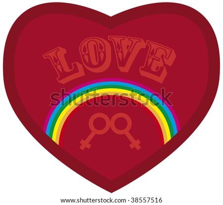 iridescent heart with notice love plus symbol women - stock vector