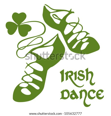 Irish dance shoes - stock vector