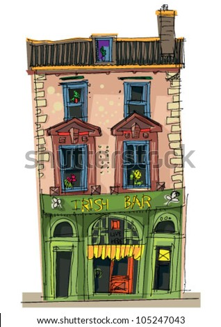 irish pup facade - cartoon - stock vector