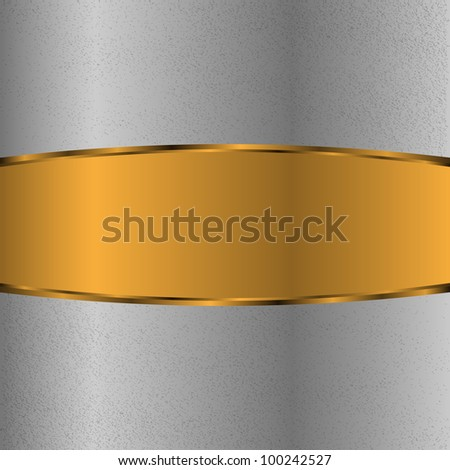 Iron surface with gold label - stock vector