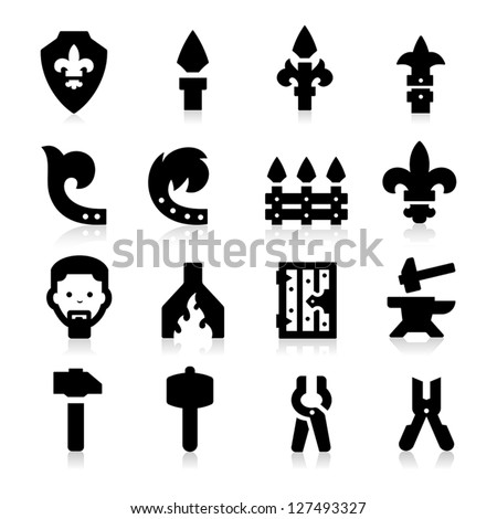Iron Works Icons - stock vector