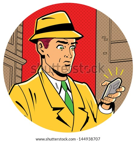 Ironic Satirical Illustration of a Retro Classic Comics Man With a Fedora and a Modern Smartphone - stock vector