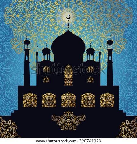 Islam,arabic,muslim background.Vector Mosque with ornamental window,minaret .Blue Pattern backdrop.Vintage Celebration card for Ramadan Kareem, holiday template. Illustration.Mosque black silhouette - stock vector
