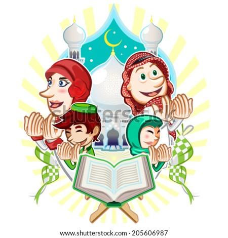 Islam Eid Mubarak Muslim Illustration - stock vector