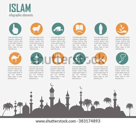Islam infographic. Muslim culture. Vector illustration - stock vector