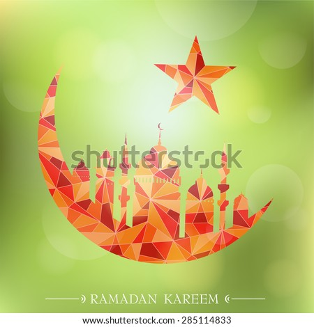 Islam mosque with crescent moon as emblem for Ramadan (Ramadan Kareem translation: Bless You During The Holy Month) - stock vector