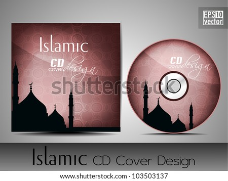 Islamic CD cover design with Mosque or Masjid silhouette in pink color and floral patterns. EPS 10. Vector illustration. - stock vector