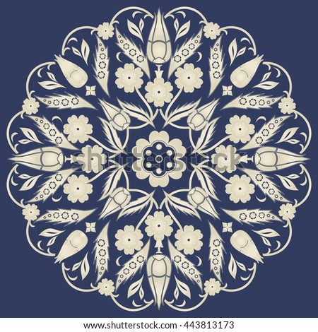 Islamic floral circle design in gold on dark blue background. Traditional round Turkish ornament. Vector illustration. - stock vector