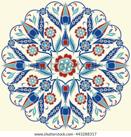 Islamic floral circle design. Traditional round Turkish ornament. Vector illustration. - stock vector