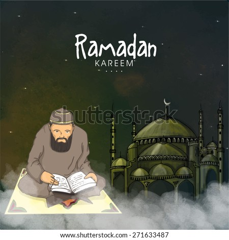 Islamic month of prayers, Ramadan Kareem celebration with illustration of a Muslim man reading Quran Shareef on mosque decorated background. - stock vector