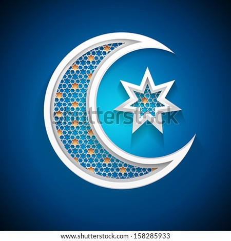 islamic moon - muslim community holiday symbol - stock vector