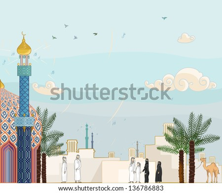 "Islamic prayer time ""Salah"" - High detailed vector illustration of islamic community in prayer time going to the mosque with arabian architecture background - stock vector"