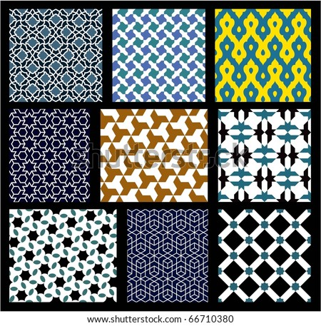 Islamic Seamless Patterns Set - stock vector