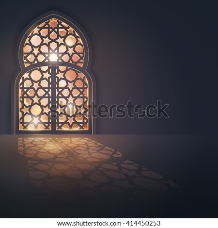 Islamic vector design greeting card background islamic design banner - stock vector