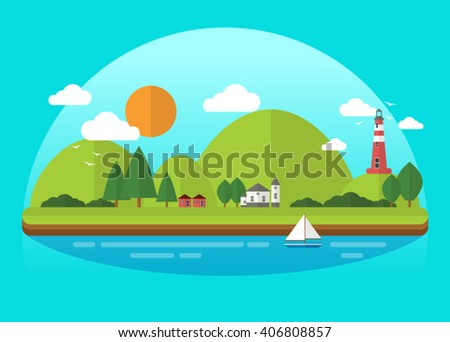 Island City Landscape/Essentials collection  - stock vector