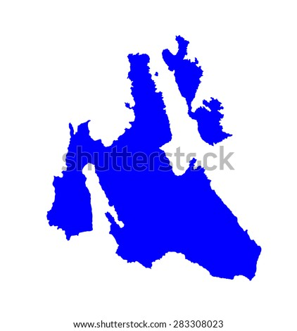 Island of Cephalonia in Greece vector map high detailed silhouette illustration isolated on blue background. Ithaki, Ithaca island near the Kefalonia. - stock vector