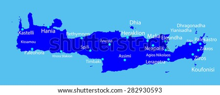 Island of Crete in Greece vector map on blue background. - stock vector