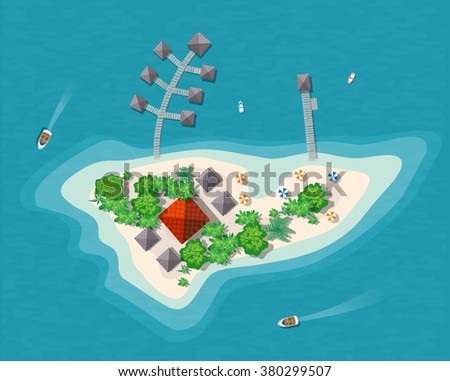 Island paradise view from above. Top view island sprite - stock vector